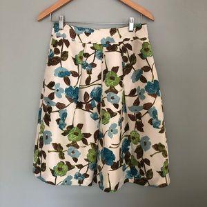 Banana Republic Ivory Floral Silk Full Skirt